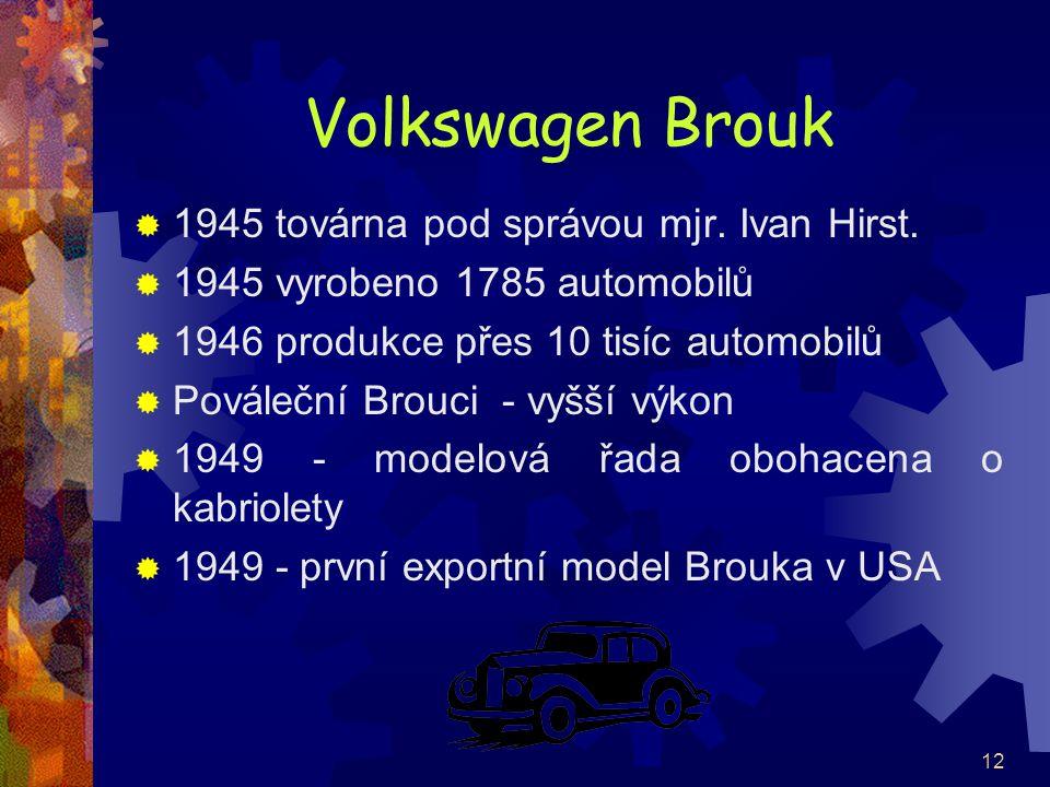 Volkswagen Brouk 1945 továrna pod správou mjr. Ivan Hirst.