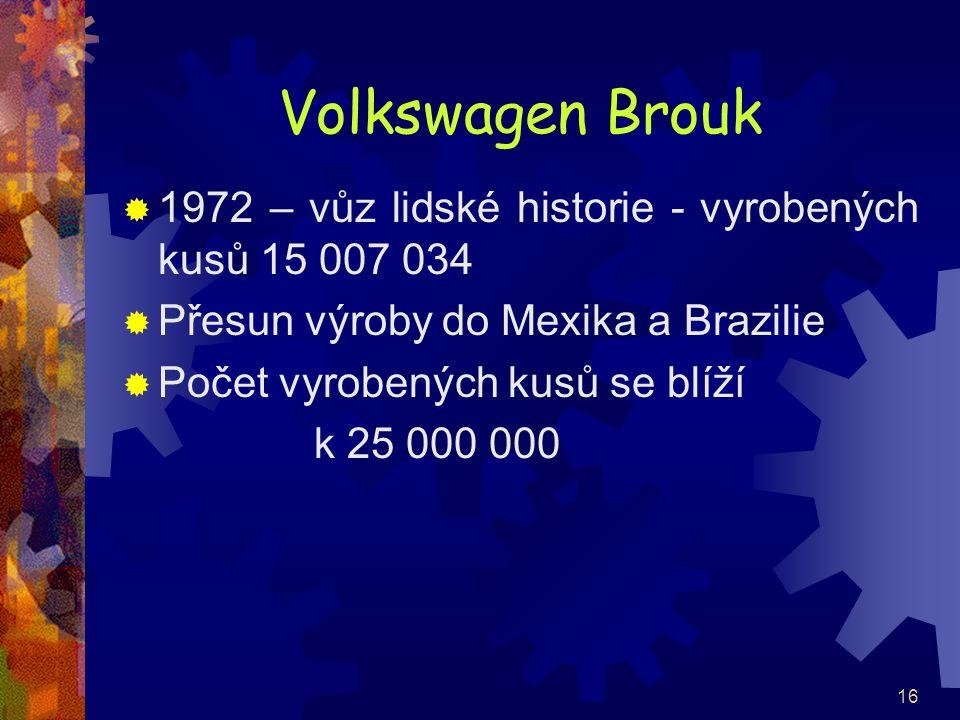 Volkswagen Brouk 1972 – vůz lidské historie - vyrobených kusů 15 007 034. Přesun výroby do Mexika a Brazilie.