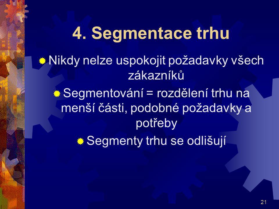 4. Segmentace trhu Nikdy nelze uspokojit požadavky všech zákazníků