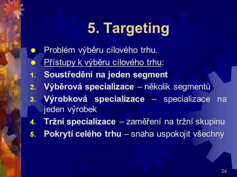 5. Targeting Problém výběru cílového trhu.