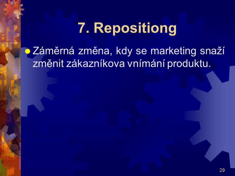 7. Repositiong Záměrná změna, kdy se marketing snaží změnit zákazníkova vnímání produktu.