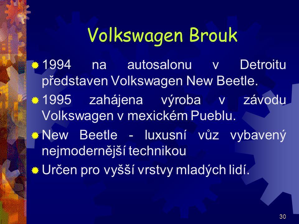 Volkswagen Brouk 1994 na autosalonu v Detroitu představen Volkswagen New Beetle. 1995 zahájena výroba v závodu Volkswagen v mexickém Pueblu.