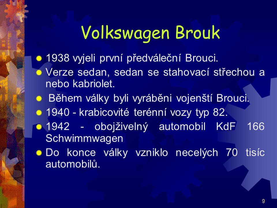 Volkswagen Brouk 1938 vyjeli první předváleční Brouci.