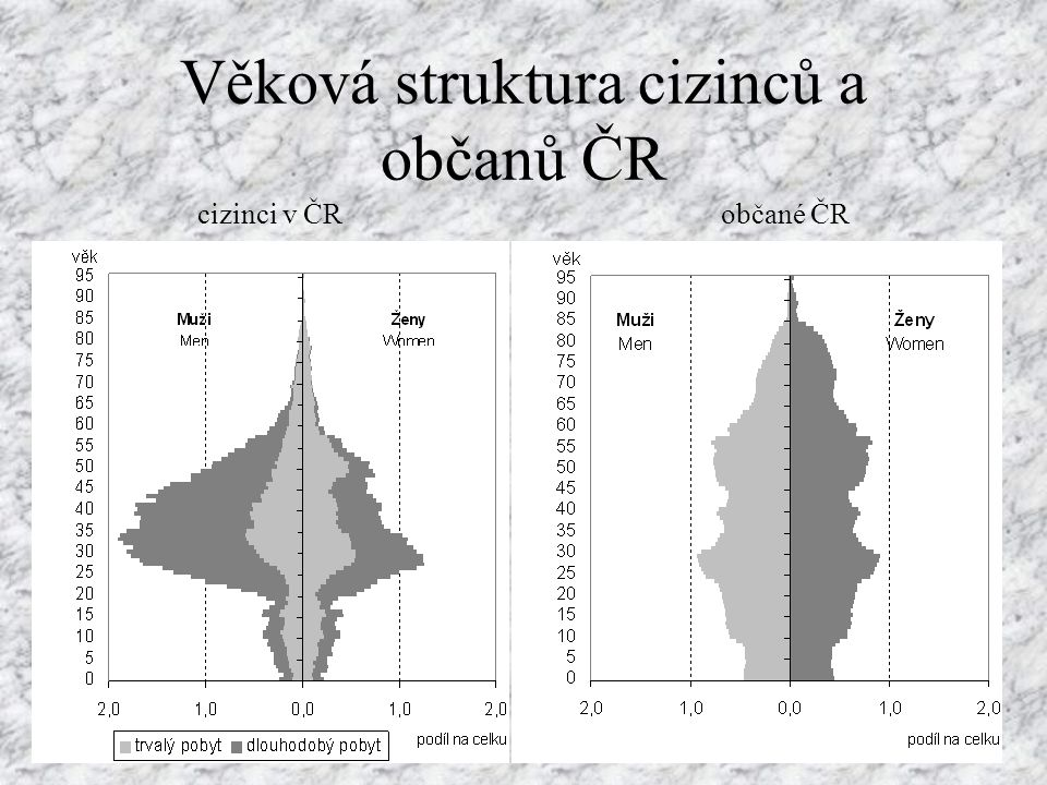 Věková struktura cizinců a občanů ČR cizinci v ČR občané ČR