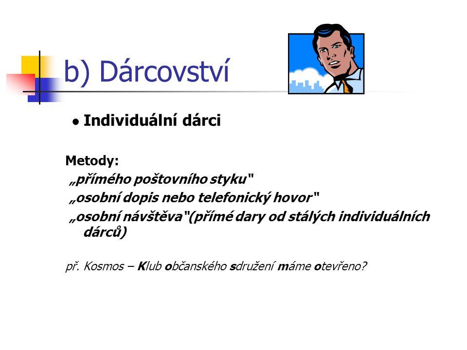 """b) Dárcovství • Individuální dárci Metody: """"přímého poštovního styku"""