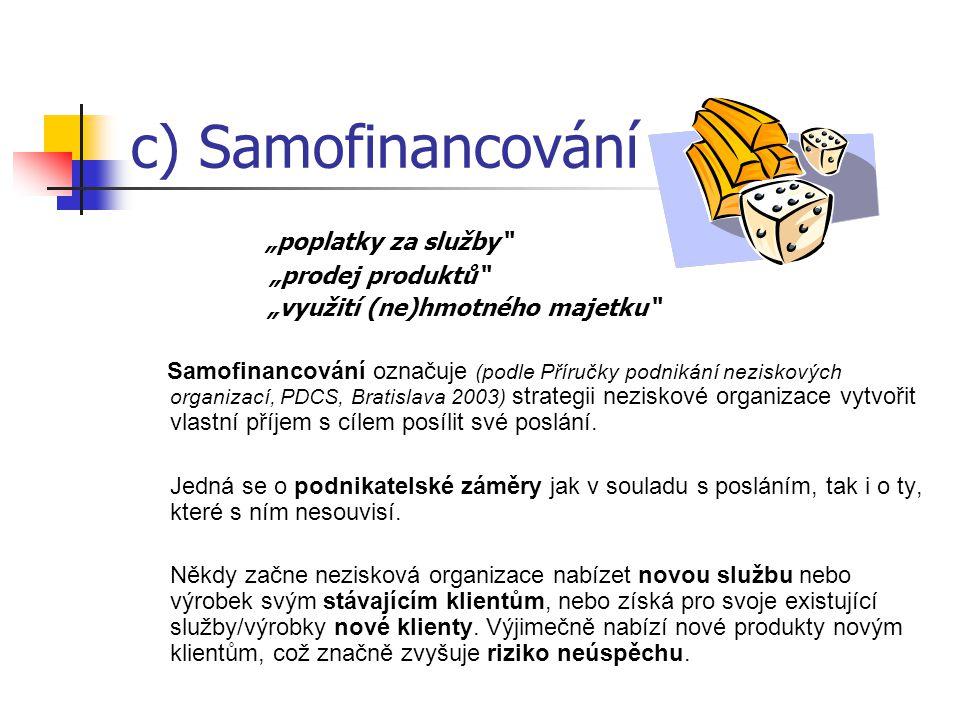 """c) Samofinancování """"poplatky za služby """"prodej produktů"""