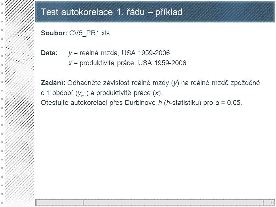 Test autokorelace 1. řádu – příklad