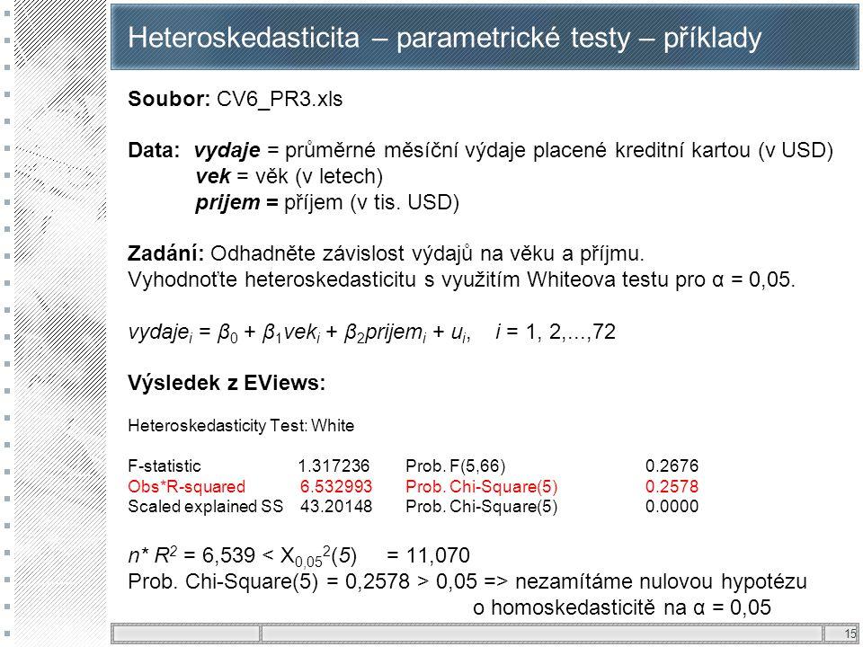 Heteroskedasticita – parametrické testy – příklady