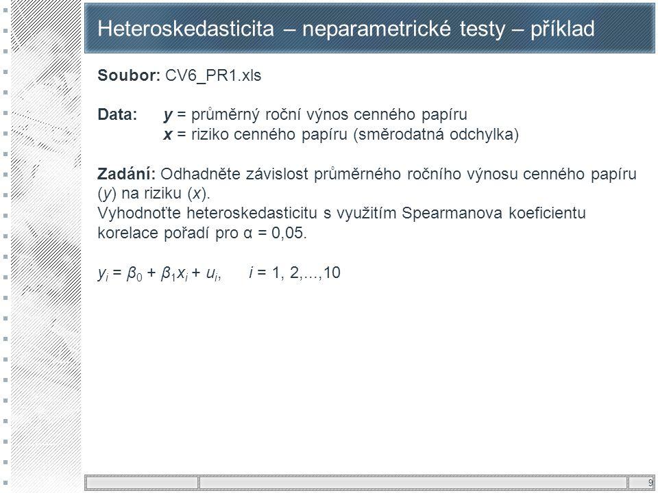 Heteroskedasticita – neparametrické testy – příklad