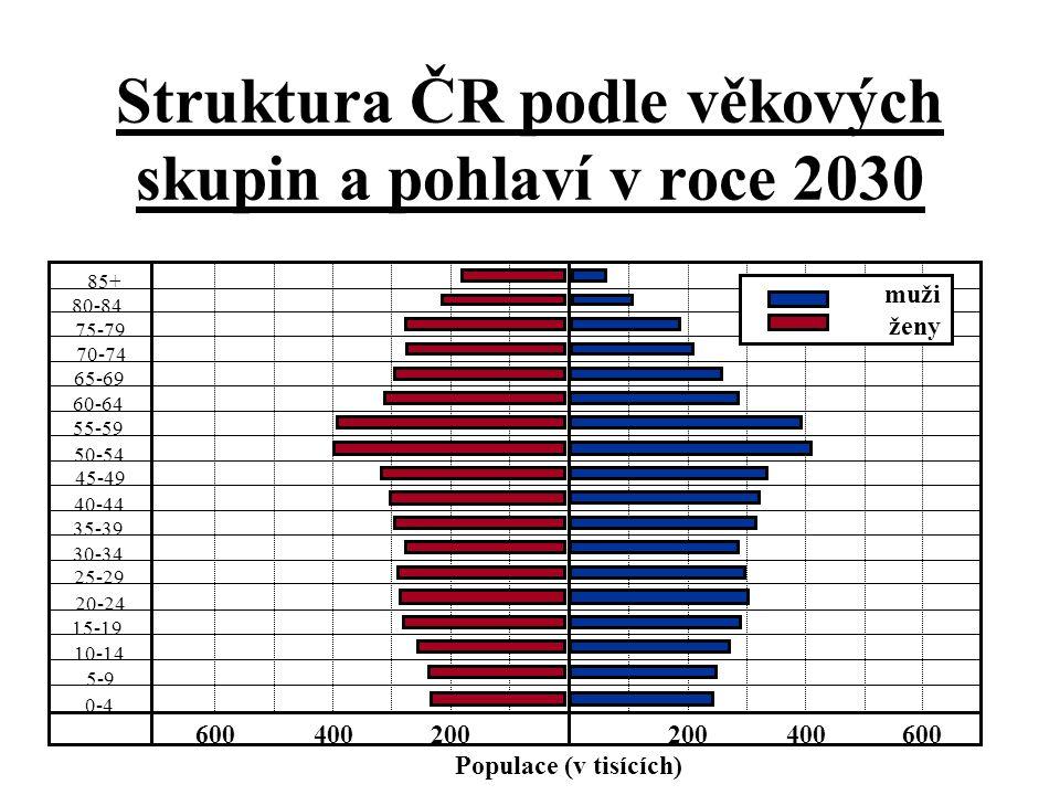 Struktura ČR podle věkových skupin a pohlaví v roce 2030