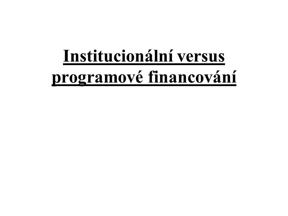 Institucionální versus programové financování