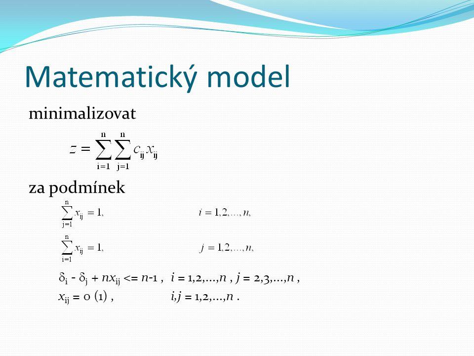 Matematický model minimalizovat za podmínek