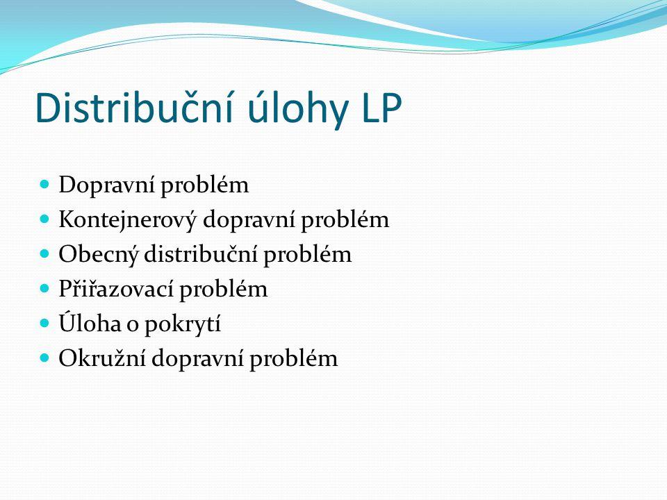 Distribuční úlohy LP Dopravní problém Kontejnerový dopravní problém