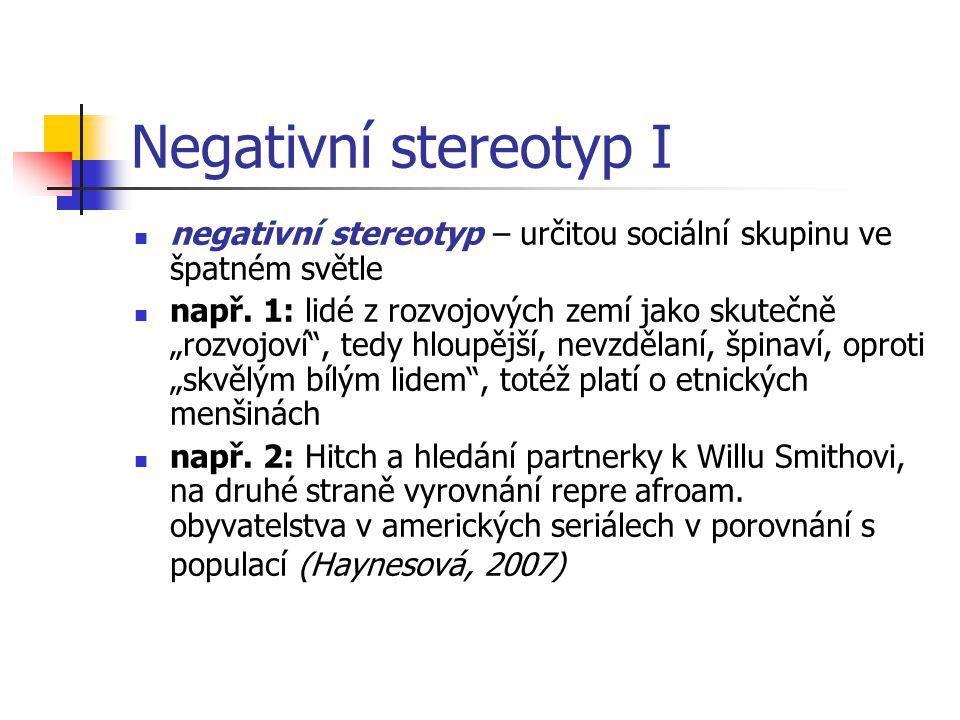 Negativní stereotyp I negativní stereotyp – určitou sociální skupinu ve špatném světle.