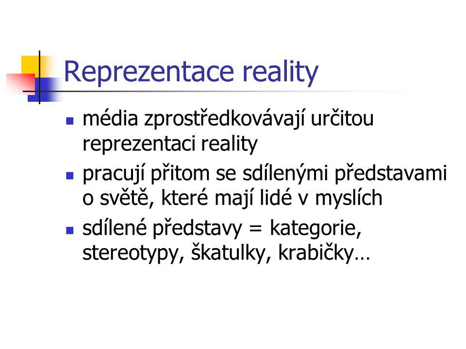 Reprezentace reality média zprostředkovávají určitou reprezentaci reality.