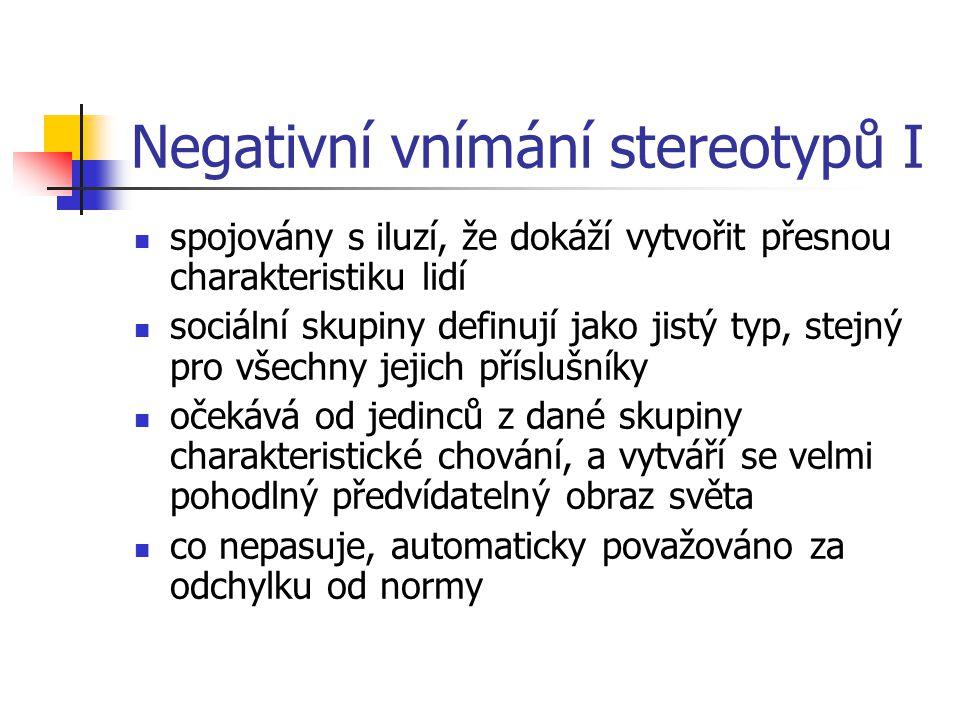 Negativní vnímání stereotypů I