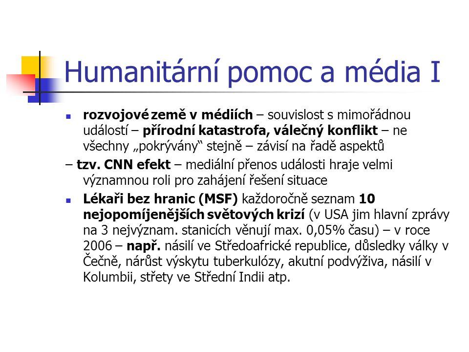 Humanitární pomoc a média I