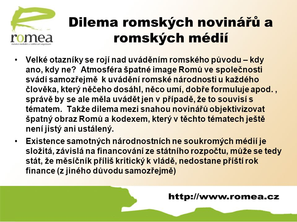 Dilema romských novinářů a romských médií