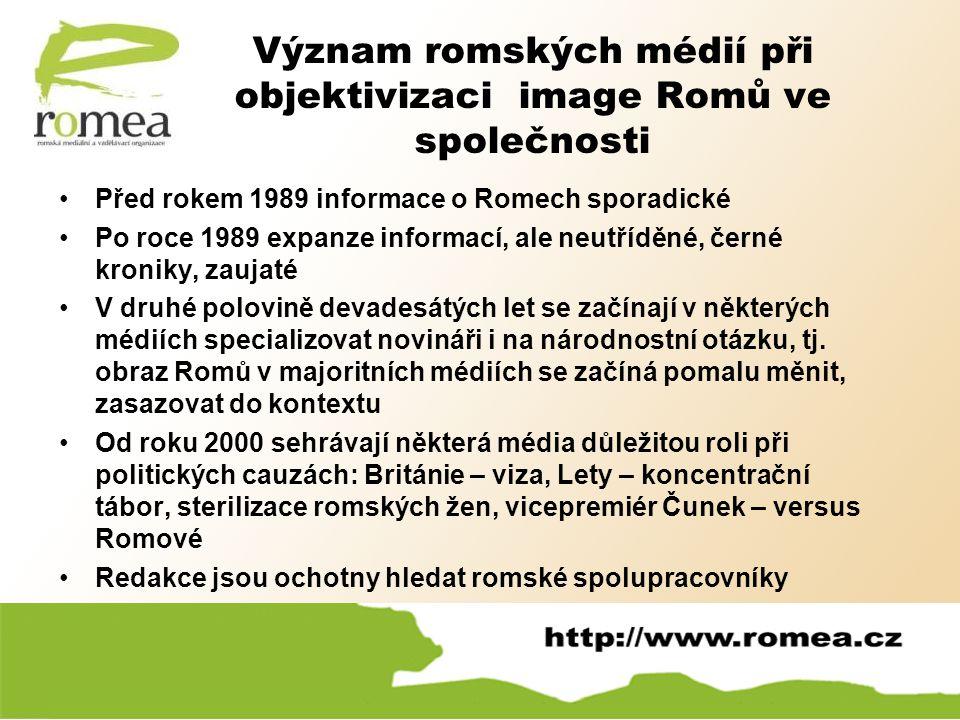 Význam romských médií při objektivizaci image Romů ve společnosti