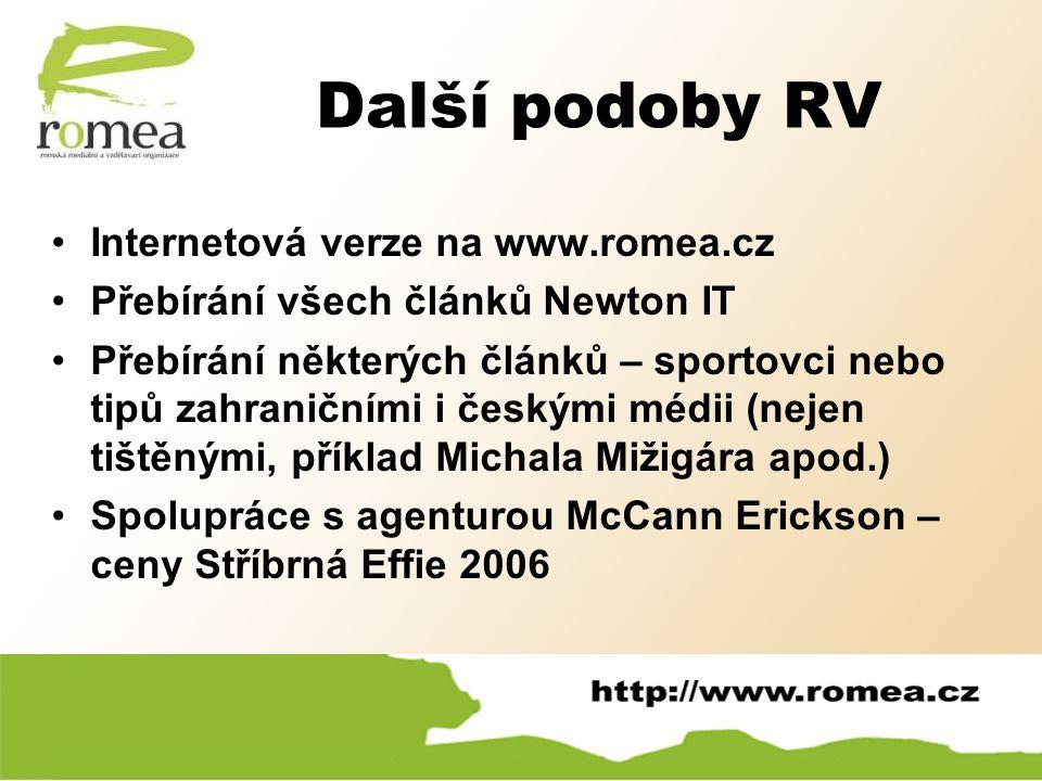 Další podoby RV Internetová verze na www.romea.cz