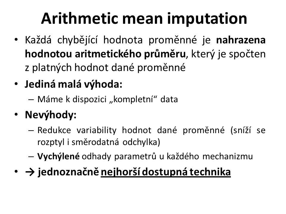 Arithmetic mean imputation