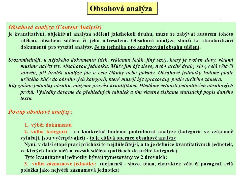 Obsahová analýza Obsahová analýza (Content Analysis)