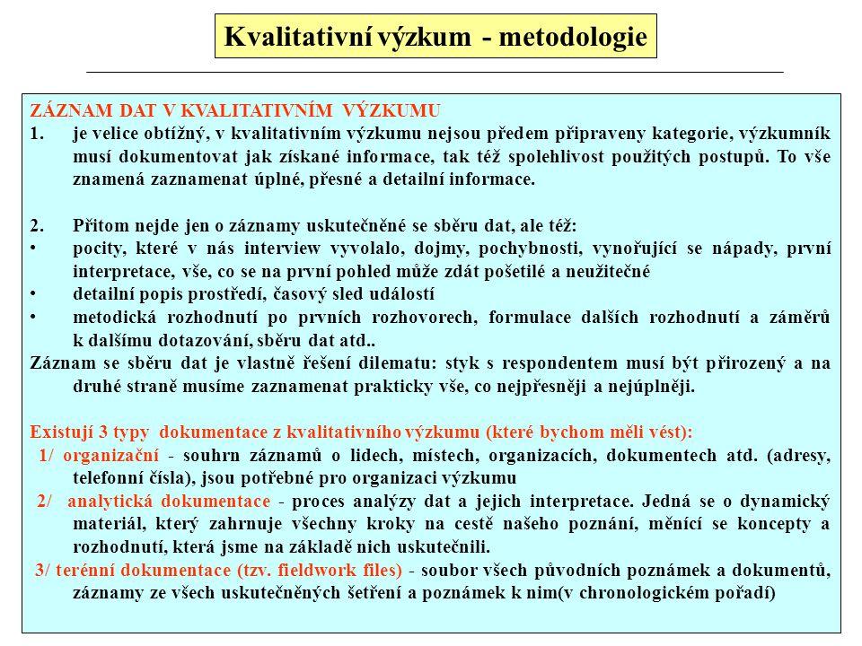 Kvalitativní výzkum - metodologie