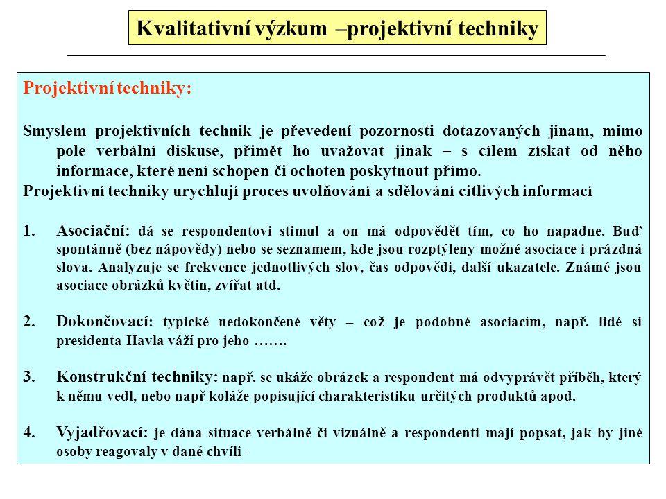 Kvalitativní výzkum –projektivní techniky