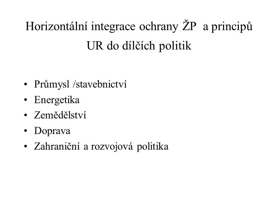 Horizontální integrace ochrany ŽP a principů UR do dílčích politik