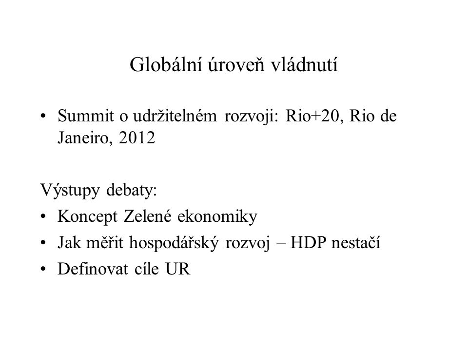Globální úroveň vládnutí