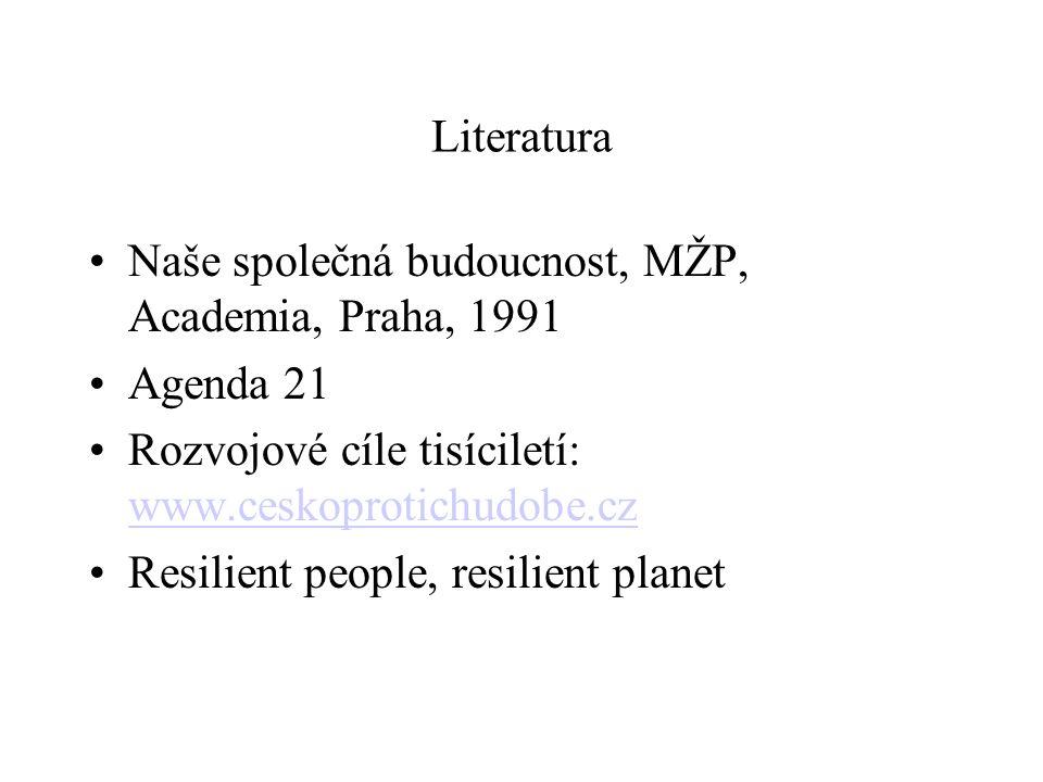 Literatura Naše společná budoucnost, MŽP, Academia, Praha, 1991. Agenda 21. Rozvojové cíle tisíciletí: www.ceskoprotichudobe.cz.