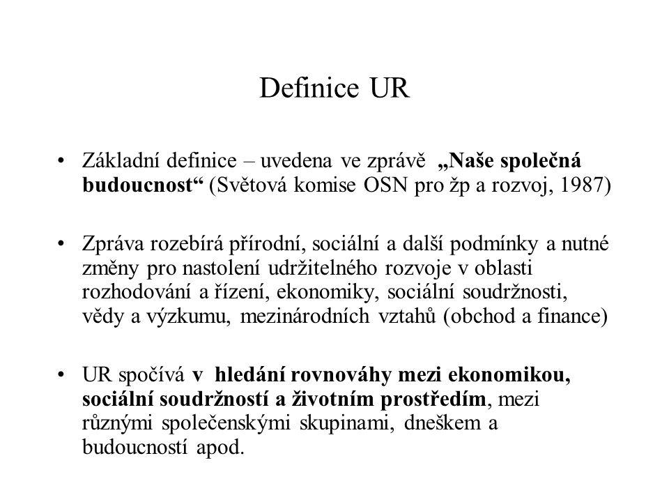 """Definice UR Základní definice – uvedena ve zprávě """"Naše společná budoucnost (Světová komise OSN pro žp a rozvoj, 1987)"""
