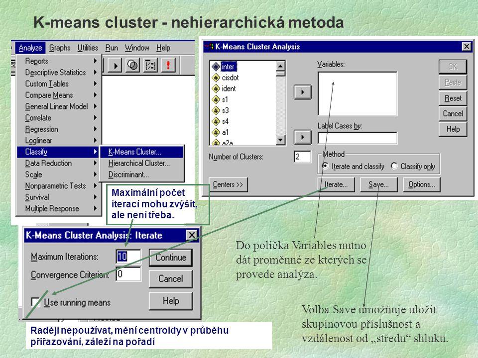 K-means cluster - nehierarchická metoda