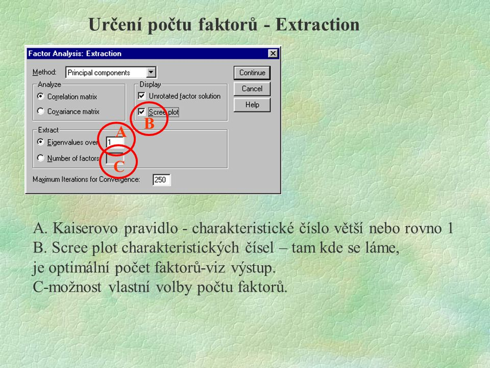 Určení počtu faktorů - Extraction