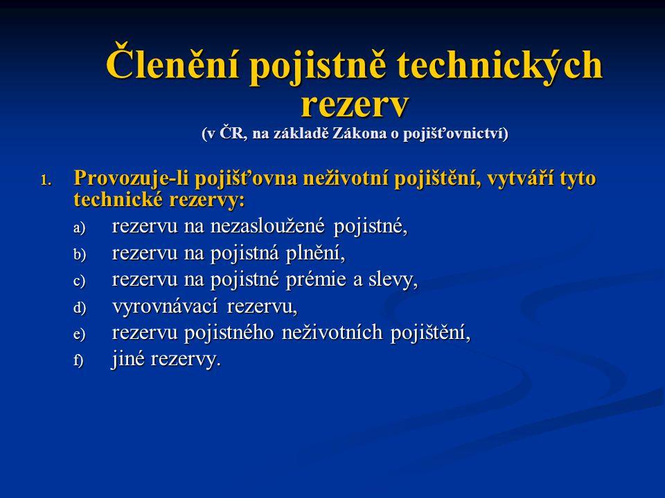 Členění pojistně technických rezerv (v ČR, na základě Zákona o pojišťovnictví)