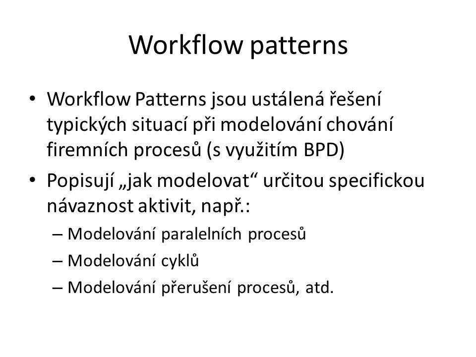 Workflow patterns Workflow Patterns jsou ustálená řešení typických situací při modelování chování firemních procesů (s využitím BPD)