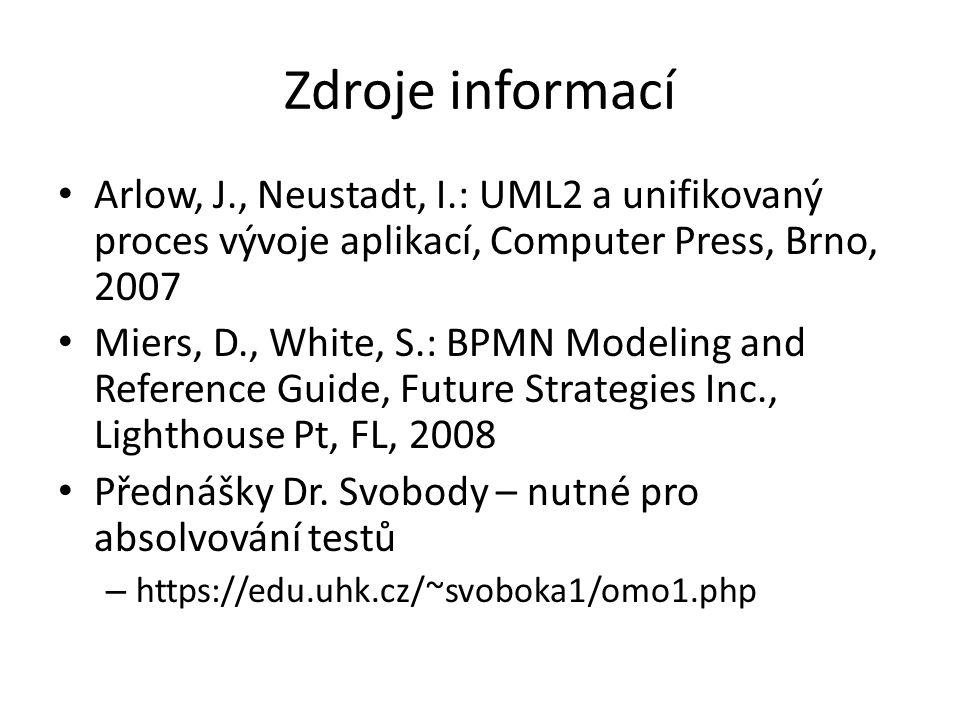 Zdroje informací Arlow, J., Neustadt, I.: UML2 a unifikovaný proces vývoje aplikací, Computer Press, Brno, 2007.