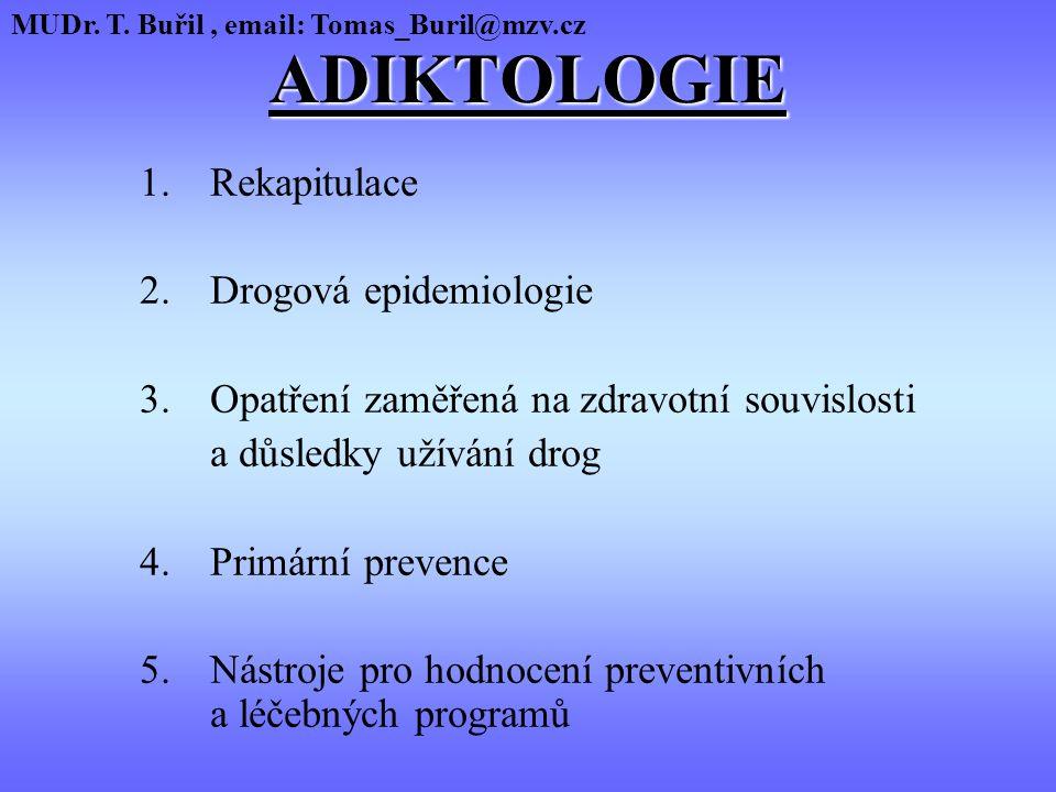 ADIKTOLOGIE 1. Rekapitulace 2. Drogová epidemiologie