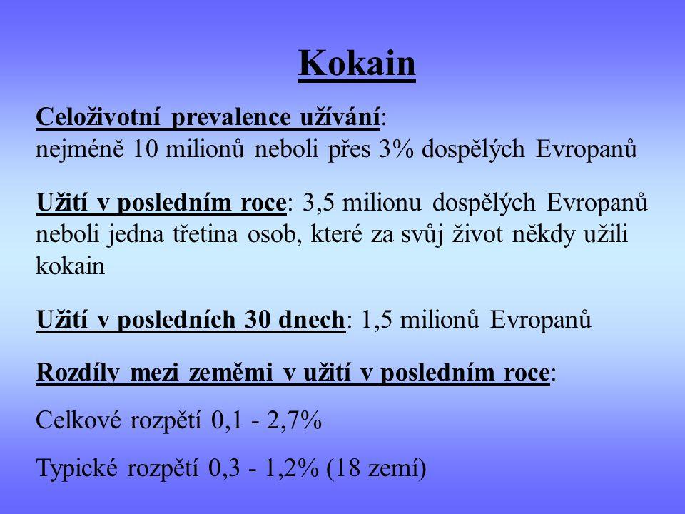 Kokain Celoživotní prevalence užívání: nejméně 10 milionů neboli přes 3% dospělých Evropanů.