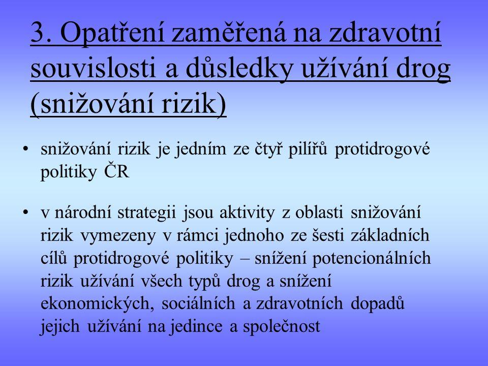 3. Opatření zaměřená na zdravotní souvislosti a důsledky užívání drog (snižování rizik)