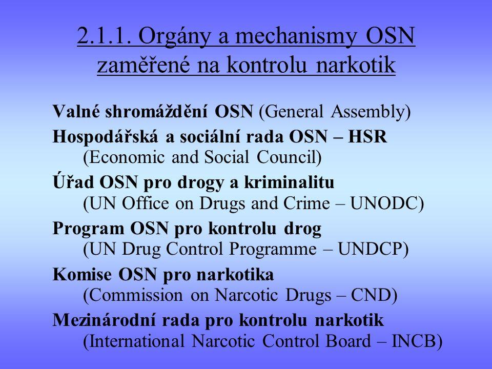 2.1.1. Orgány a mechanismy OSN zaměřené na kontrolu narkotik