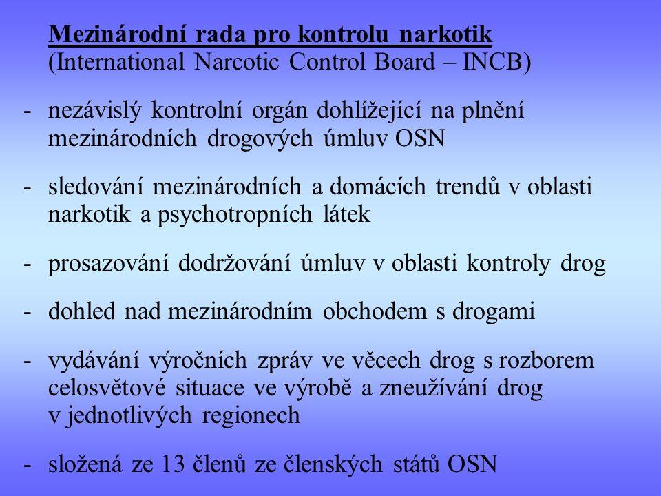 prosazování dodržování úmluv v oblasti kontroly drog