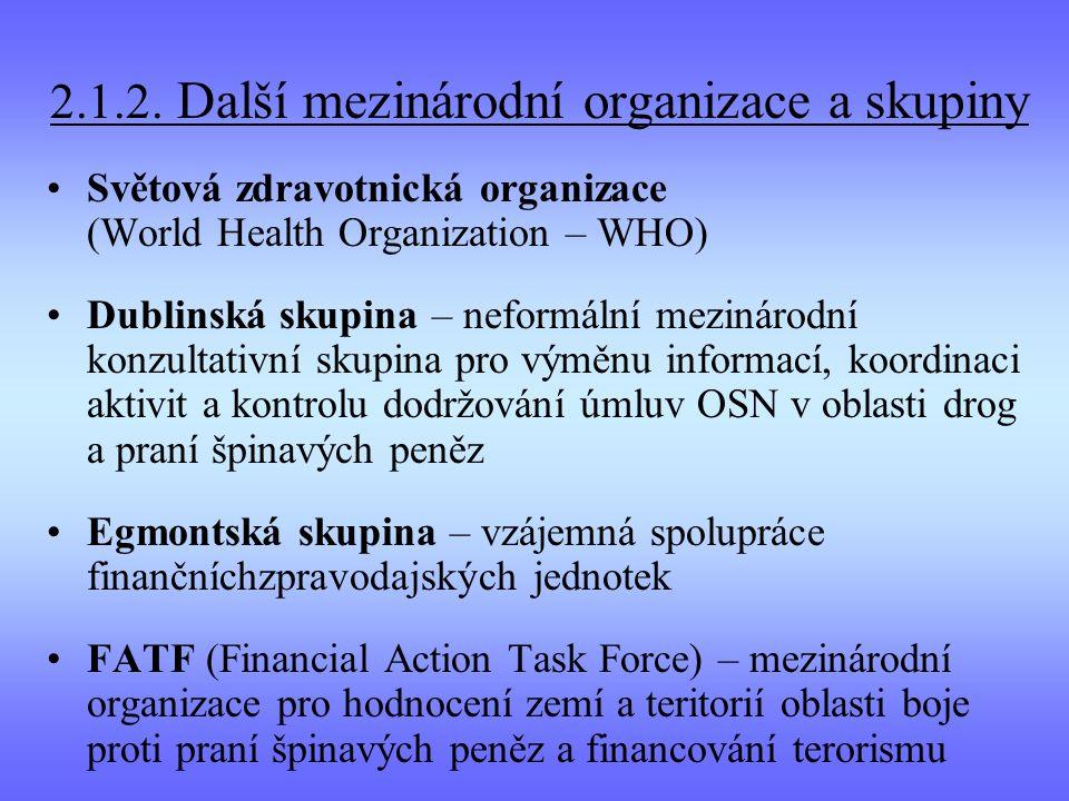 2.1.2. Další mezinárodní organizace a skupiny