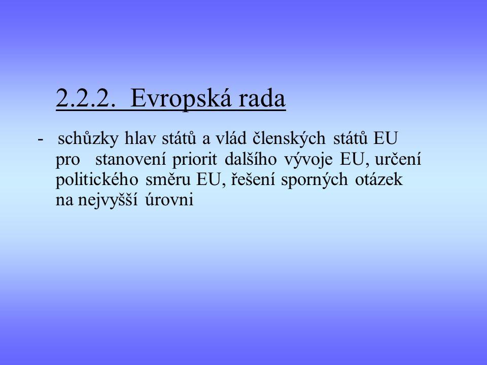 2.2.2. Evropská rada