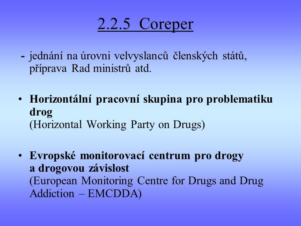 2.2.5 Coreper - jednání na úrovni velvyslanců členských států, příprava Rad ministrů atd.