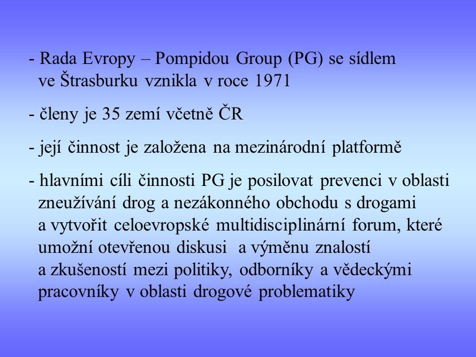Rada Evropy – Pompidou Group (PG) se sídlem ve Štrasburku vznikla v roce 1971