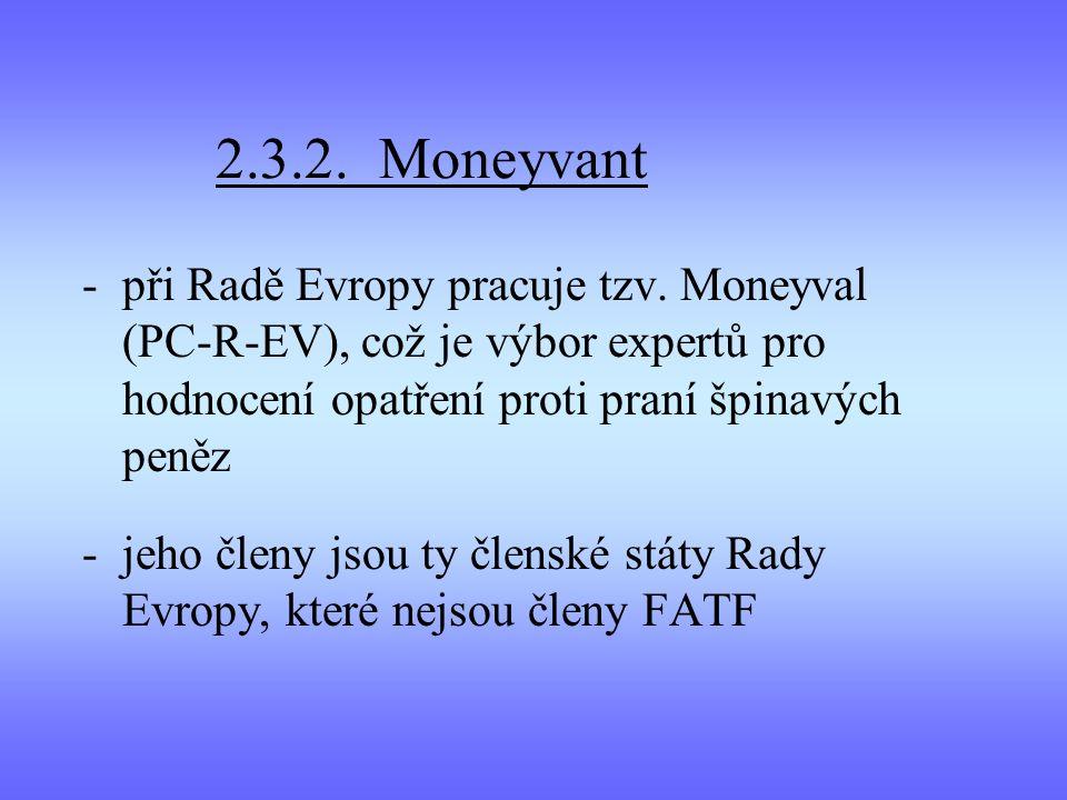 2.3.2. Moneyvant při Radě Evropy pracuje tzv. Moneyval (PC-R-EV), což je výbor expertů pro hodnocení opatření proti praní špinavých peněz.
