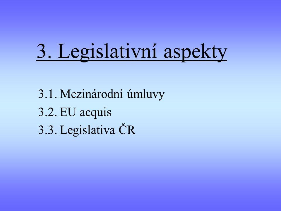 3. Legislativní aspekty 3.1. Mezinárodní úmluvy 3.2. EU acquis