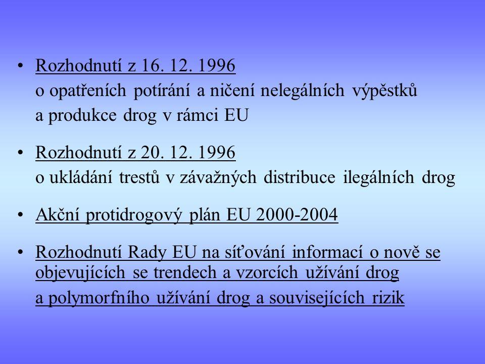 Rozhodnutí z 16. 12. 1996 o opatřeních potírání a ničení nelegálních výpěstků. a produkce drog v rámci EU.