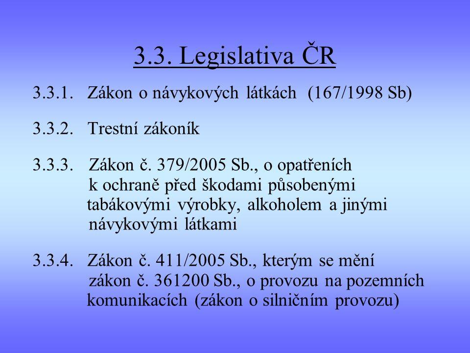 3.3. Legislativa ČR 3.3.1. Zákon o návykových látkách (167/1998 Sb)